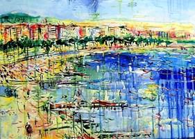 Obraz do salonu artysty Dariusz Grajek pod tytułem Zatoka w Nicei....