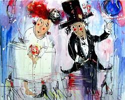 Obraz do salonu artysty Dariusz Grajek pod tytułem Portret ślubny Arnolfinich.....
