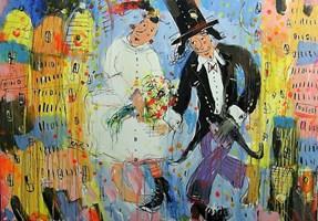 Obraz do salonu artysty Dariusz Grajek pod tytułem Zakochani nad miastem....