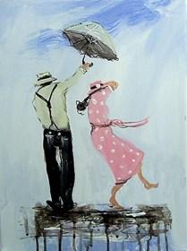 Obraz do salonu artysty Dariusz Grajek pod tytułem Pod parasolem...