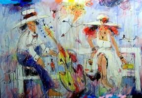 Obraz do salonu artysty Dariusz Grajek pod tytułem Kupidyn i zakochani....