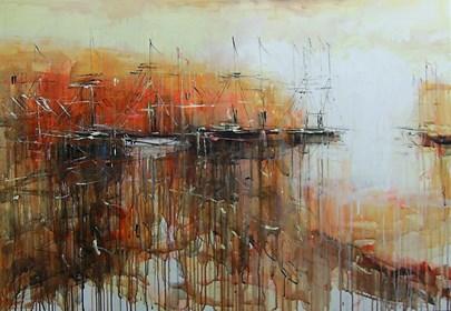 Obraz do salonu artysty Dariusz Grajek pod tytułem Stara zatoczka i łodzie....