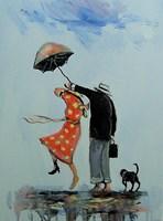 Obraz do salonu artysty Dariusz Grajek pod tytułem Spacerowicze z psem...