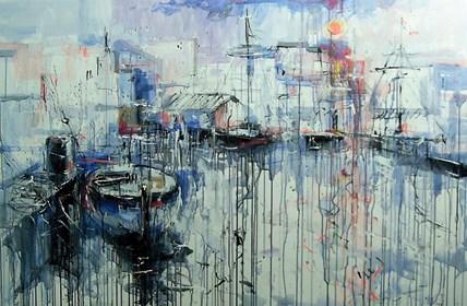 Obraz do salonu artysty Dariusz Grajek pod tytułem Portowe klimaty..