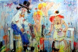 Obraz do salonu artysty Dariusz Grajek pod tytułem Zakochani na ławeczce....