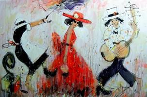 Obraz do salonu artysty Dariusz Grajek pod tytułem Czerwona sukienka i parasol....