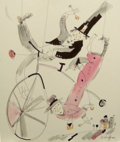 Living room painting by Dariusz Grajek titled Cyclists in love