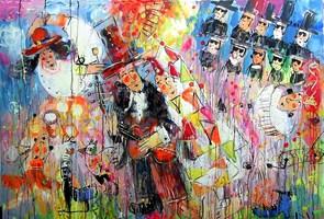 Obraz do salonu artysty Dariusz Grajek pod tytułem Colombina i cyrkowcy....