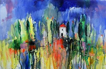 Obraz do salonu artysty Dariusz Grajek pod tytułem Toskańskie chmury....