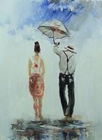 Obraz do salonu artysty Dariusz Grajek pod tytułem Anioł i parasol....