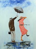 Obraz do salonu artysty Dariusz Grajek pod tytułem Ja i ty pod parasolem....