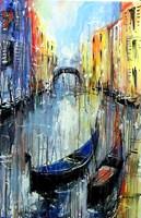 Obraz do salonu artysty Dariusz Grajek pod tytułem Dwie gondole i Wenecja....