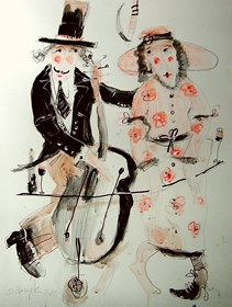 Obraz do salonu artysty Dariusz Grajek pod tytułem Para z wiolonczelą....