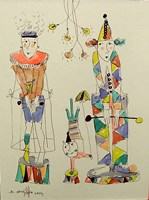 Obraz do salonu artysty Dariusz Grajek pod tytułem Cyrkowe trio...
