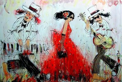 Obraz do salonu artysty Dariusz Grajek pod tytułem Panna i muzykanci....