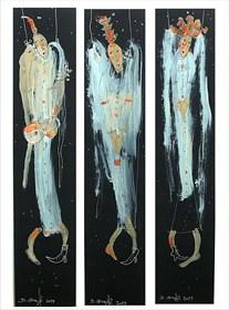 Obraz do salonu artysty Dariusz Grajek pod tytułem Trzy anielice.... Tryptyk!