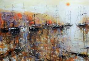 Obraz do salonu artysty Dariusz Grajek pod tytułem Na cumach w porcie....
