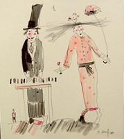 Obraz do salonu artysty Dariusz Grajek pod tytułem Panna i pianista...