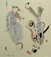Obraz do salonu artysty Dariusz Grajek pod tytułem Trębacz i skrzypaczka...