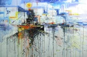 Obraz do salonu artysty Dariusz Grajek pod tytułem Portowe klimaty...