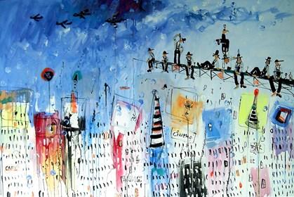 Obraz do salonu artysty Dariusz Grajek pod tytułem Nad Nowym Jorkiem....