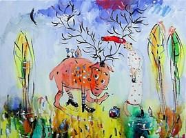 Obraz do salonu artysty Dariusz Grajek pod tytułem Jeleń,panna i rykowisko....