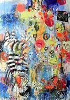 Obraz do salonu artysty Dariusz Grajek pod tytułem Zebra i płonąca żyrafa....