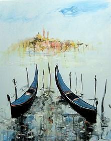 Obraz do salonu artysty Dariusz Grajek pod tytułem Dwie gondole....