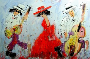 Obraz do salonu artysty Dariusz Grajek pod tytułem Muzykanci i dama....