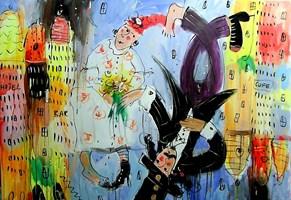 Obraz do salonu artysty Dariusz Grajek pod tytułem Miasto miłości.....