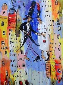 Obraz do salonu artysty Dariusz Grajek pod tytułem Poślubieni i domy...