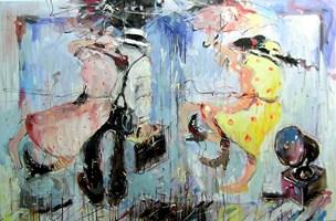 Obraz do salonu artysty Dariusz Grajek pod tytułem Parasole i patefon....