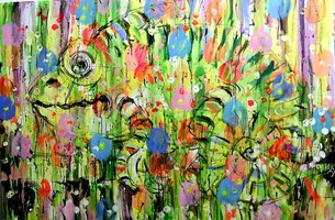 Obraz do salonu artysty Dariusz Grajek pod tytułem Mały kameleon....