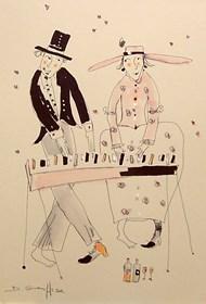Grafika do salonu artysty Dariusz Grajek pod tytułem Zakochani pianiści.....