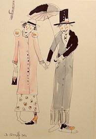 Grafika do salonu artysty Dariusz Grajek pod tytułem Miłość pod parasolem...