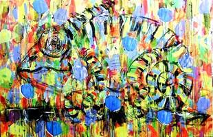 Obraz do salonu artysty Dariusz Grajek pod tytułem Leśny kameleon....