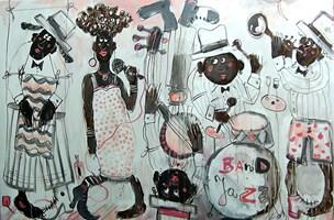 Obraz do salonu artysty Dariusz Grajek pod tytułem Jazz band....