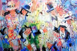 Obraz do salonu artysty Dariusz Grajek pod tytułem Gracze....