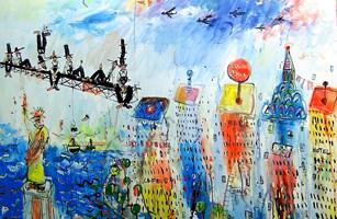 Obraz do salonu artysty Dariusz Grajek pod tytułem Samoloty nad Nowym Jorkiem....