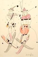 Grafika do salonu artysty Dariusz Grajek pod tytułem Na nartach....