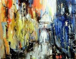 Obraz do salonu artysty Dariusz Grajek pod tytułem Weneckie gondole...