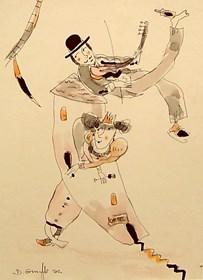 Grafika do salonu artysty Dariusz Grajek pod tytułem Królewna i grajek....