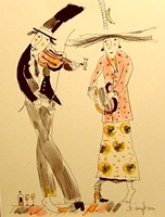 Grafika do salonu artysty Dariusz Grajek pod tytułem Skrzypek i harfistka....