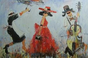 Obraz do salonu artysty Dariusz Grajek pod tytułem Kobieta i basista...
