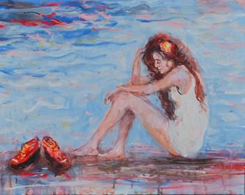 Obraz do salonu artysty Dariusz Grajek pod tytułem Zamyślona.....