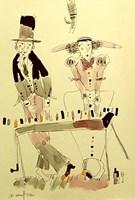 Living room print by Dariusz Grajek titled  Piano Duo