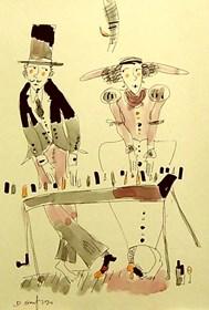 Grafika do salonu artysty Dariusz Grajek pod tytułem Fortepianowy duet.....
