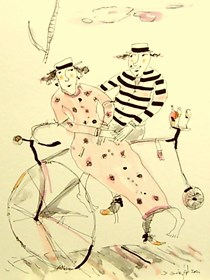 Grafika do salonu artysty Dariusz Grajek pod tytułem Retro rowerianie