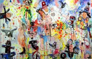 Obraz do salonu artysty Dariusz Grajek pod tytułem Helena i Koń Trojański....
