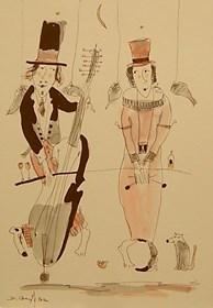 Grafika do salonu artysty Dariusz Grajek pod tytułem Anielskie muzykowanie